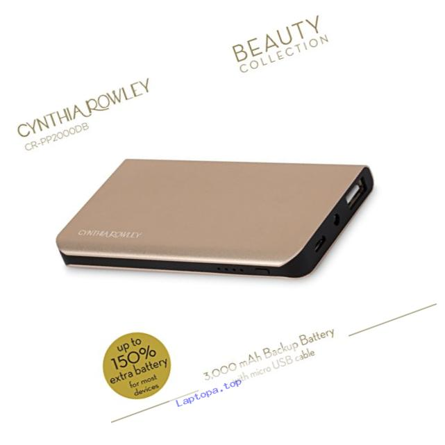 Cynthia Rowley Aluminum Slim Li-Ion Polymer Battery 3000 mAh (Gold/Black)