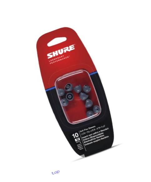Shure EASFX1-10M Medium Soft Flex Sleeves (10 Included/5 Pair) for SE115, SE315, SE425 & SE535 Earphones (Black)