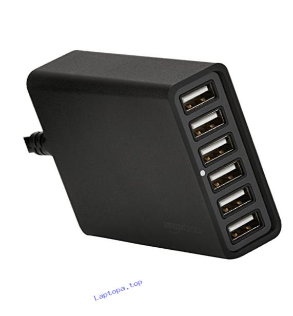 AmazonBasics 6-Port USB Wall Charger (60W) - Black
